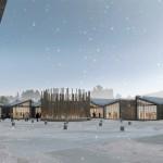 Inaugura la nuova mensa scolastica di Amatrice.